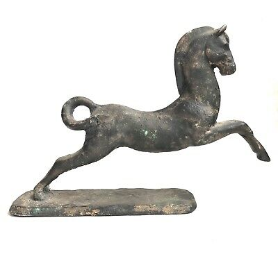 A Vintage Cast Iron Leaping Horse Pony Statue Sculpture Japan Mid-Century