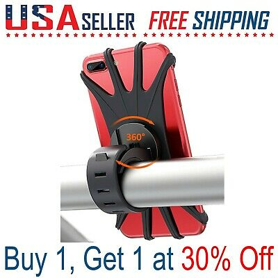 Bike Bicycle Motorcycle Phone Silicone Mount 360° Rotation Holder iPhone Galaxy