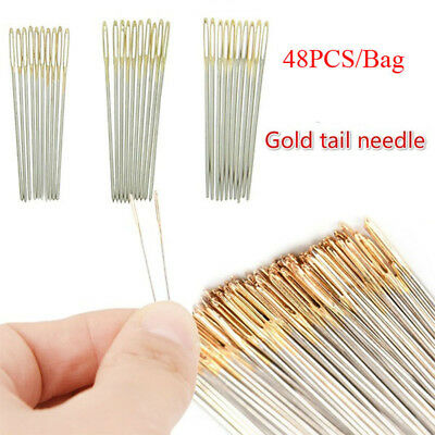48Pcs New Large Hand Sewing Needles Leather Carpet Repair Tools Gold Eye Needles