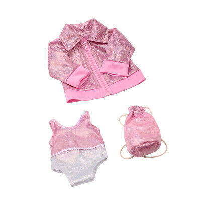 18 Inch Doll Clothes Pink Bathing Suit 3 Piece Set for  Doll