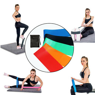 Resistance Band Loop Set - Exercise Glutes Legs Yoga Pilates Home Gym Workout UK