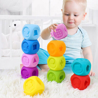 Kid Gnaw Big Particle Soft Rubber Building Blocks Baby Early Educational Toys AT