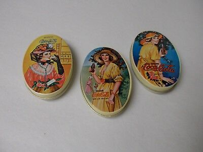 Vintage Art Styled Coca-Cola Small Oval Tins - Set of 3