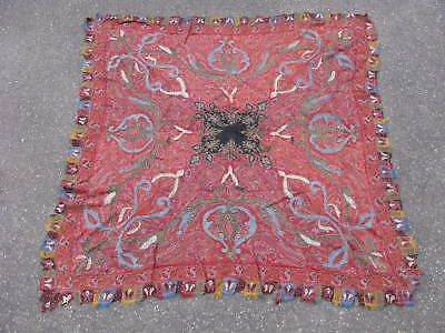 Antique Kashmir shawl hand woven twill tapestry India ca1860 Kani cloth 60x62in