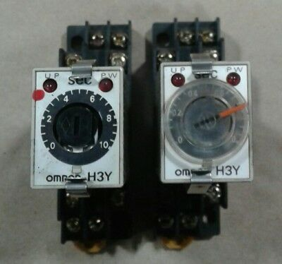 Omron H3Y-2 Timer 1-200VAC 1-24VDC *LOT OF 2* with Socket Base 2-M4X10 #007A13