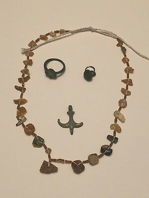 Collection of Ancient Roman Jewelery, neclace, ring, pendants