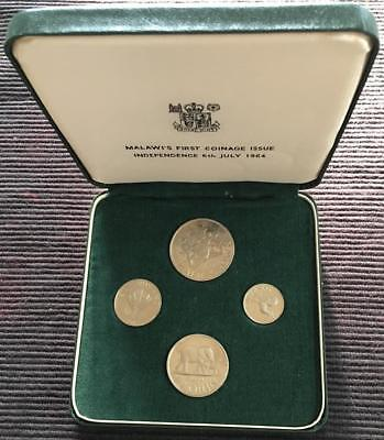 1964 Malawi 4 Coin Proof Set First Coinage Issue Independence 6th July 1964