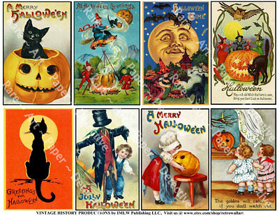 Halloween Holiday Postcard Tag Reproduction Stickers, Vintage Black Cat, 1 Sheet