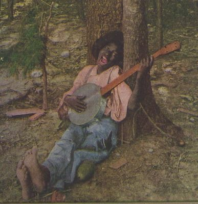 Barefoot Negro playing a Banjo Tell me Dat YouLub me Darlin Dina stereoview card