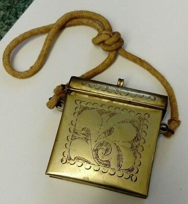 Antique Tibetan Gau Prayer Box Purse Nickel Silver with Lanyard