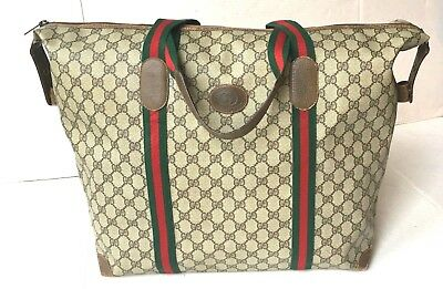 062007ab0a7e66 Authentic Vintage GUCCI Duffel Carry On Travel Bag Suitcase Luggage UNISEX  GG