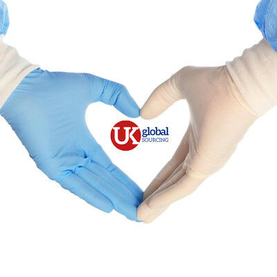 100 Disposable Powder Free Latex Free Blue  Vinyl Gloves Food Medical Surgical