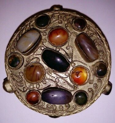 Antique 19C Tibetan Filigree Silver Trinket Pill Box with Agate Carnelian stone