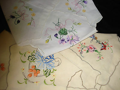 Lot 3 Hot Roll Covers Embroidered Flowers - 2 Ecru 1 White