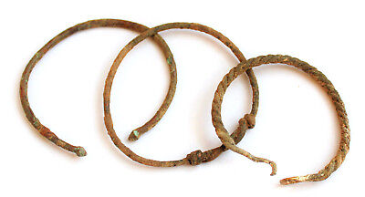 Lot of 3Ancient Roman bronze bracelets,  2nd-4th century