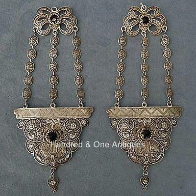 Antique Qing Dynasty Chinese Silver Filigree Headdress Ornament Earrings