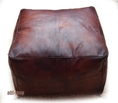 Moroccan leather Ottoman square dark brown pouf, Handmade square footstool