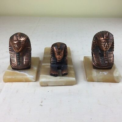 French Art Deco Style marble base Egyptian trio, Sphinx 2 Kings heads
