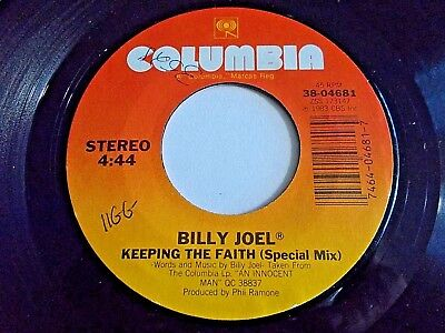 Billy Joel Keeping The Faith / She's Right On Time 45 1983 Columbia Vinyl Record