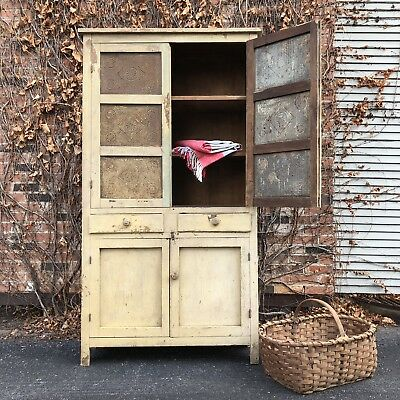 Antique Pie Safe Cupboard, Primitive Farmhouse Cabinet, Large Chippy Hutch