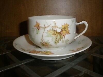 "Haviland Limoges ""Autumn Leaf ""  Cup and Saucer Set France"