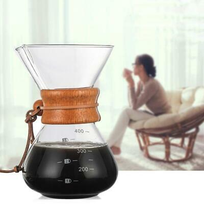 400ml Classic Glass Coffee Maker Cup Chemex Style Pour Over Coffeemaker & Filter