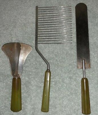 Vintage Lot Green Bakelite Handle Food Chopper~Icing Spread Spatula~Cake Cutter
