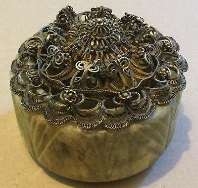 Large Antique Hardstone And Silver Trinket Box- Chinese?