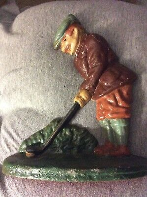 Vintage Cast Iron Door Stop Male Man Golfer Red Green Hat Put Club Collectible