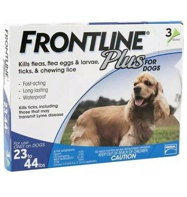 FRONTLINE Plus for Dogs medium 23 - 44 Lbs Flea and Tick Treatment 3 month/doses