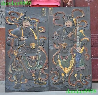 Old Chinese lacquerware wood carving Evil spirits Door god Exorcism Wall hanging