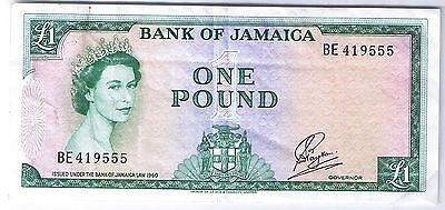1960 (1964) Bank of Jamaica 1 Pound Stanley W. Payton P 51Ca note bill banknote