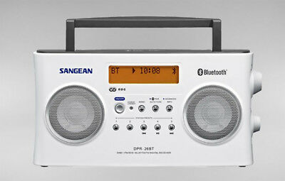 Sangean Bluetooth-Rechargeable-DAB/FM-RDS-Digital-Radio-DPR-26BT White+AUS WNTY