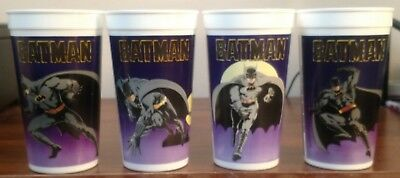 Batman 1989 Taco Bell Cups Lot Complete Set of 4 Batmobile, Batwing, Gotham City