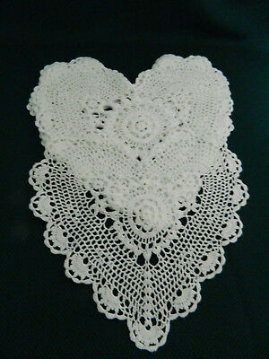 6 Pc  WHITE HEART DOILIES COTTON CROCHET LACE HANDMADE CRAFT 9-10 in