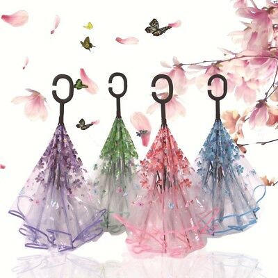 Transparent Cherry Blossom Reversible Windproof Umbrella With C-Shaped Handle