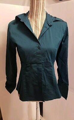 New York & Co. Green Stretch Button Down Long Sleeve Blouse Women's Petite Sz M