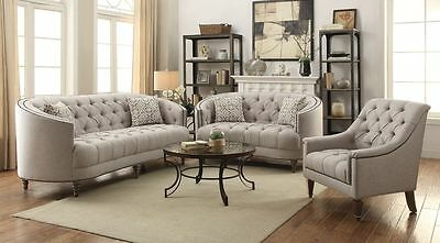 Curvy Beige Tufted Linen Like Sofa Love Seat Living Room Furniture Set