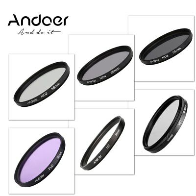 Andoer 55mm UV CPL FLD ND (ND2 ND4 ND8) Photography Filter Kit Set Canon Nikon