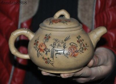 Old Chinese yixing zisha pottery Hand Carved Plum blossom pot Tea makers TeaPot