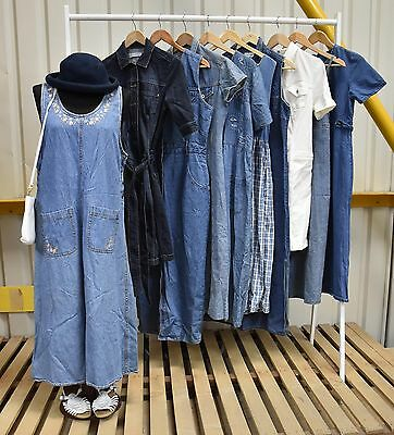 Job Lot X10 Vintage Summer Denim Dresses, A Range Of Sizes