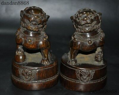 """5""""Chinese Old Ox Horn Carved Feng Shui Lion Beast Guardion Phylacter Statue Pair"""