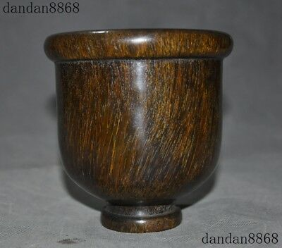 "5""Marked Chinese Old ox Horn Hand Carved dynasty palace Goblet Wineglass Cup"