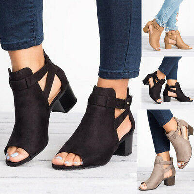 9369d537f4d1 Summer Womens Casual Open Toe Sandals Ankle Strap Chunky Block Heel Buckle  Shoes