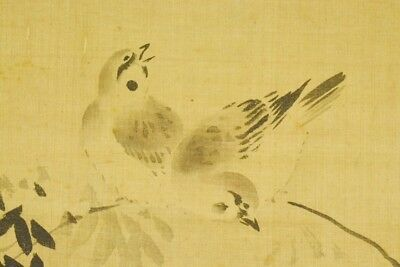 "SPARROW JAPANESE PAINTING HANGING SCROLL 59.8"" VINTAGE Old Bamboo ART Japan c343"