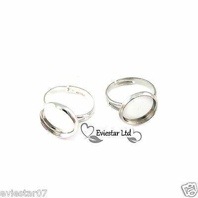 18mm Adjustable Ring Blanks Brass Round Cabochon Tray Nickel Free RB-3