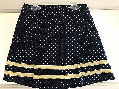 NWT Girls Hartstrings Skort, Size 7, Navy Polka Dot With Yellow Trim