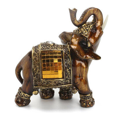 Feng Shui Lucky Elegant Elephant Trunk Statue Wealth Figurine Ornament Gift ^