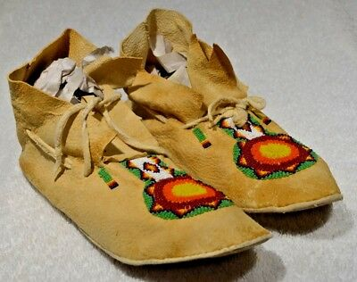 Antique Authentic c1900 Western Plains Indian, Beaded Rawhide Moccasins