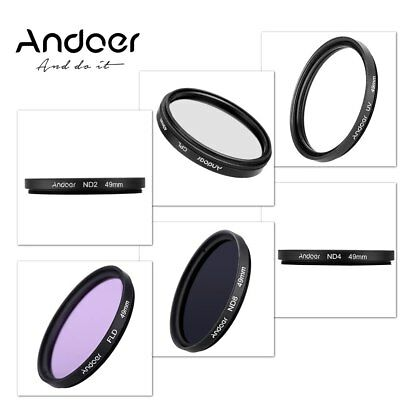 Andoer 49mm UV + CPL + FLD + ND ND2 ND4 ND8 Photography Filter Kit Fluorescent